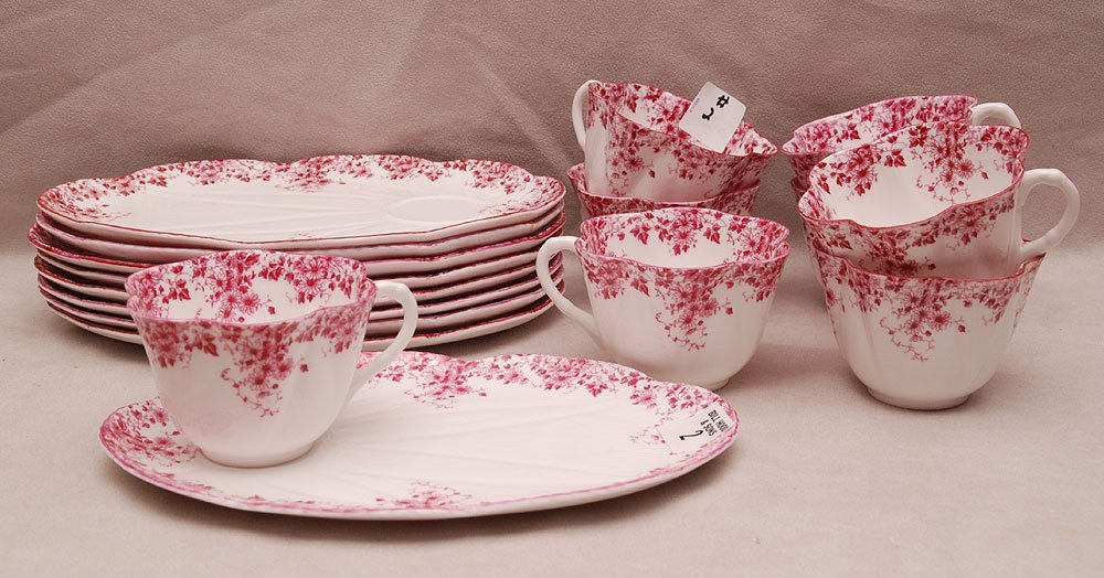 """8 Shelley two piece """"Dainty Pink"""" dessert sets, 2 7/8""""h"""