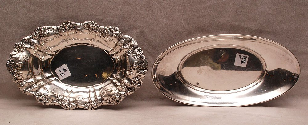 2 sterling bread trays, one foliate & flower rim and