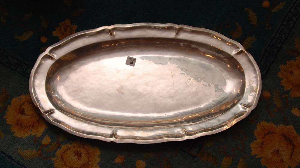 """Mexican sterling silver platter, 76 ozt, 25""""L"""