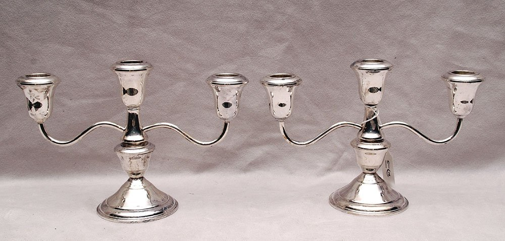 """Pair of sterling weighted 3 lite candelabra, 6""""h x 8"""