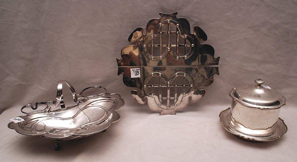 "3 pcs. Silver plate, incl; trivet (11""L), covered"