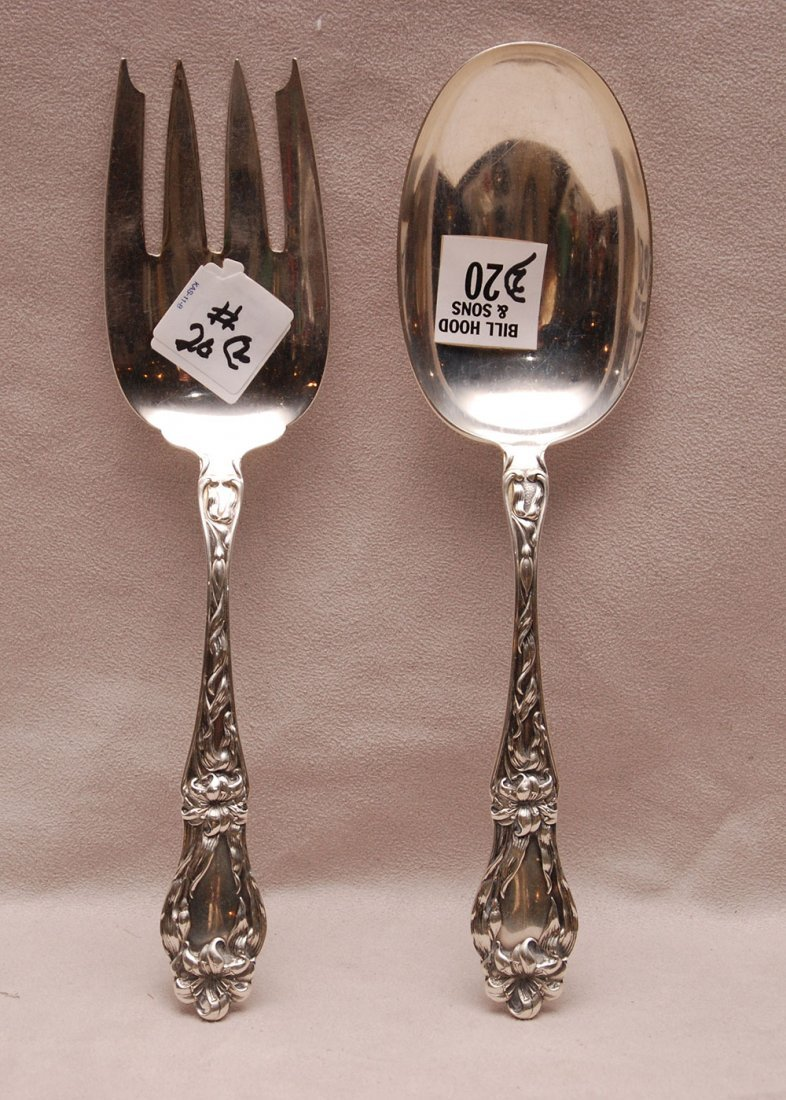 """Pair Whiting sterling serving pieces,"""" Lily"""" pattern,"""