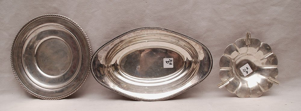 """3 pieces of silver, sterling ashtray (17ozt), """"800"""""""