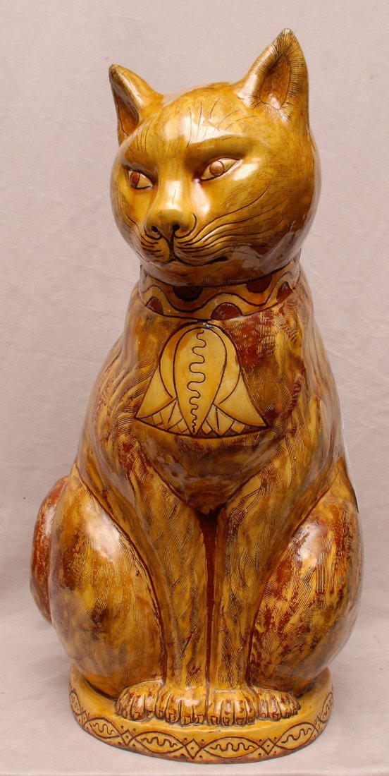 "Fabulous large ""Ewenny pottery"" glazed cat, inscribed"
