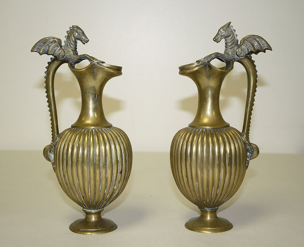 Pair Continental Bronze Ewers with dragon handles.  Con