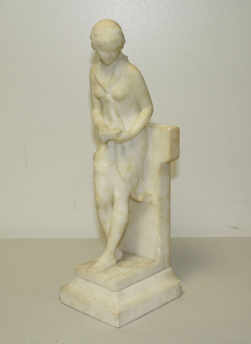 Antique Alabaster Suclpture of a young woman signed Bia