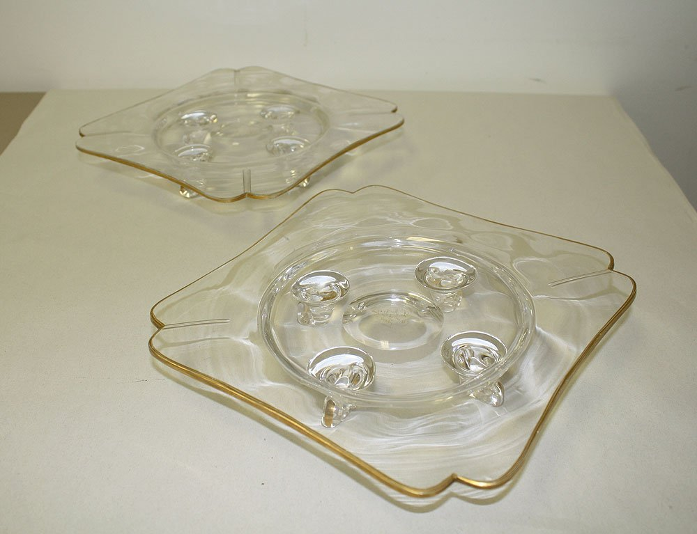 Pair French Glass Compotes with gilt decoration.  Condi