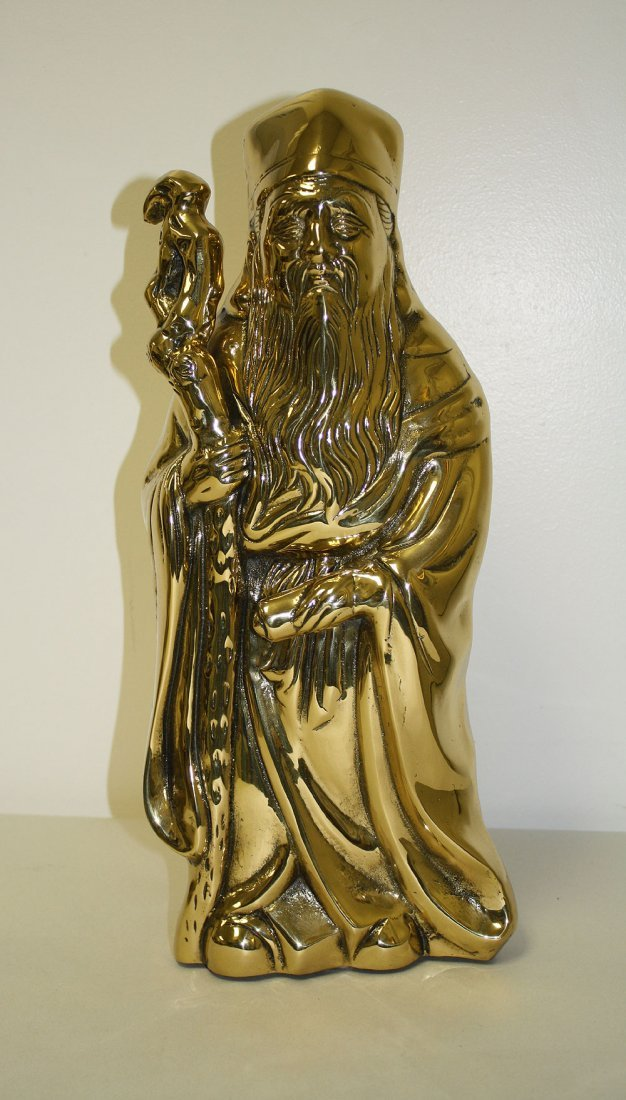 Chinese Brass Sculpture of a wise man.  Condition: good