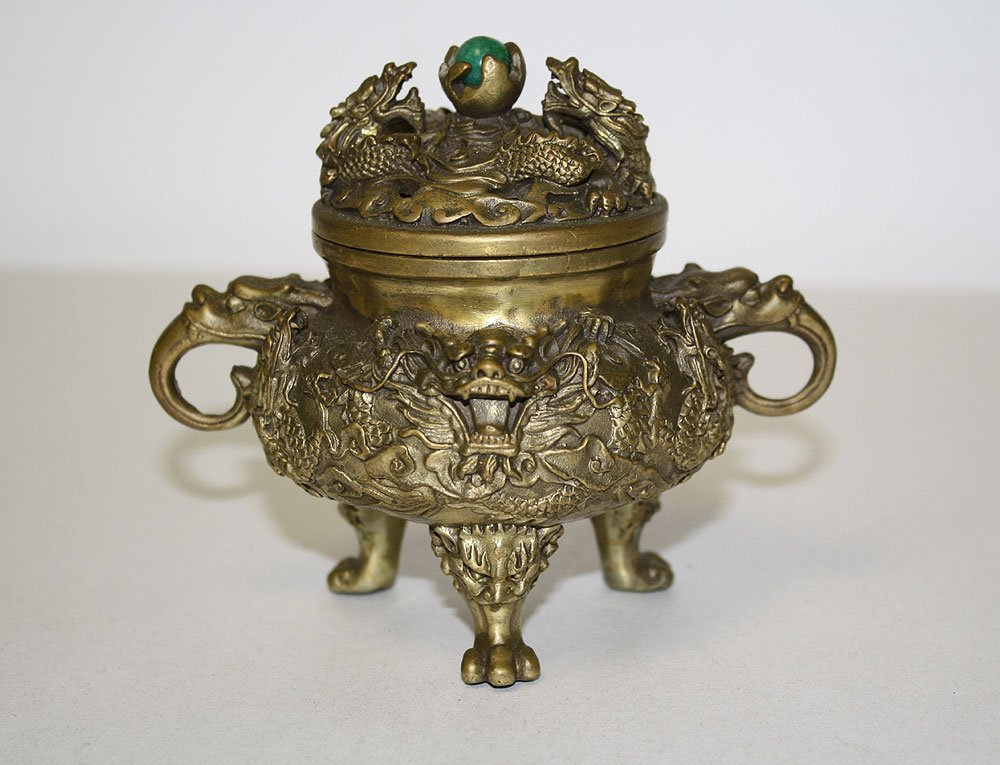 Chinese Gilt Bronze Censor.  Condition: good.  Ht. 4 1/
