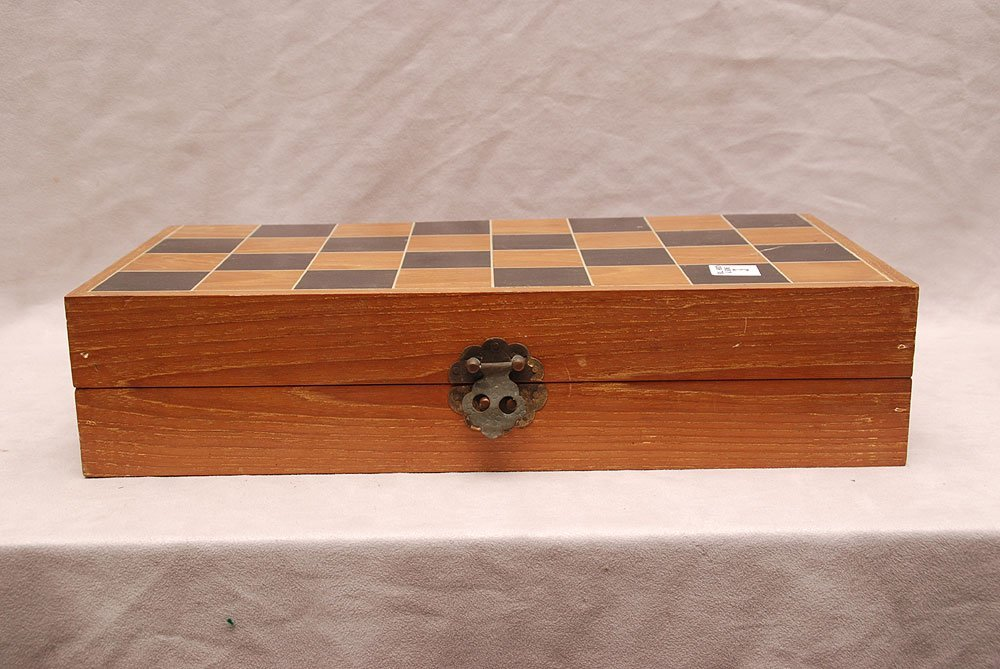 """Ivory chess set in original wood box, figures 2""""h to 4"""""""