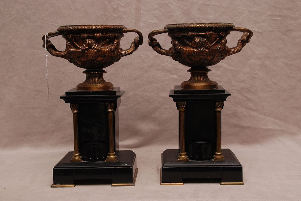 """Pair of Warwick marble and bronze urns, 12 1/2""""h x 6 1/"""