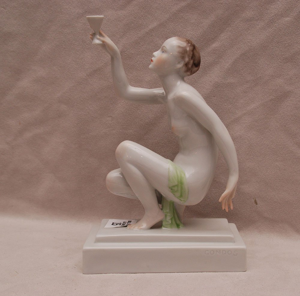 """Herend nude holding cup, 9""""h"""