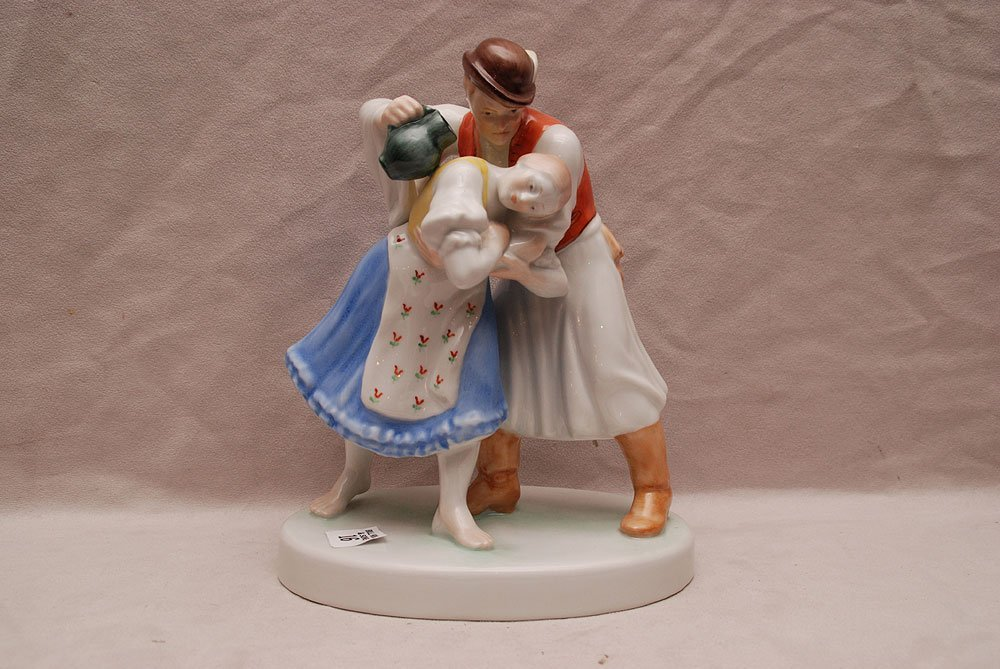 """Herend gentleman holding a young maiden, 10"""" h"""