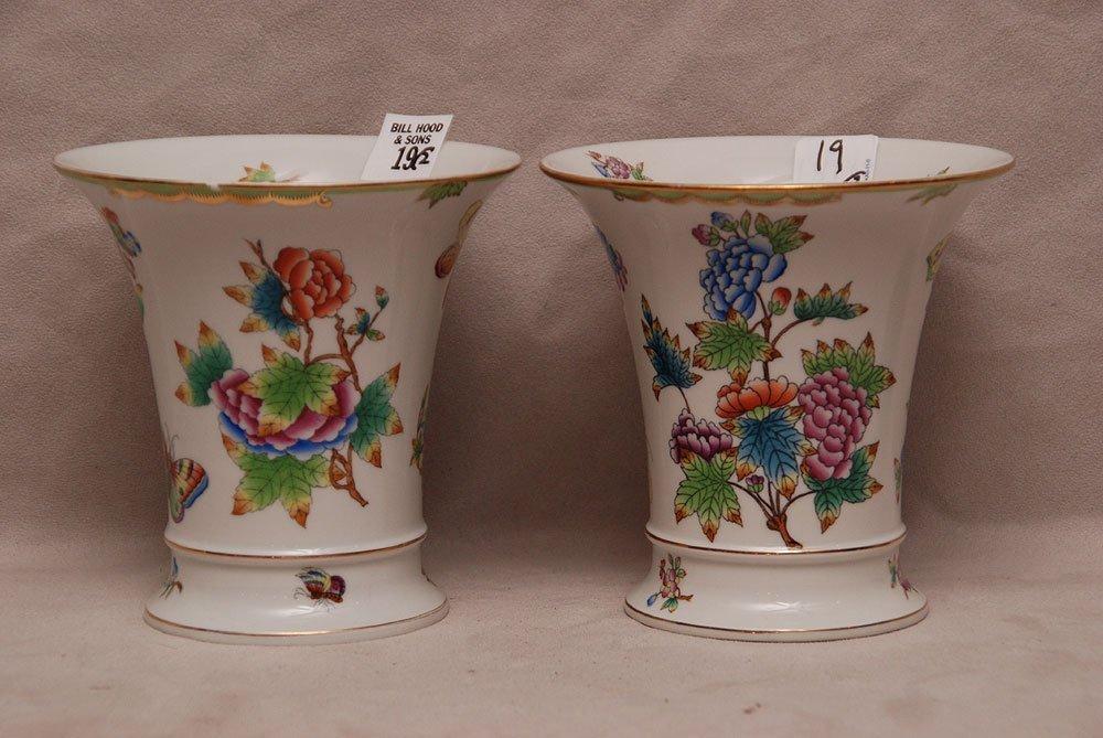 "Pair Herend cache pots, ""Queen Victoria"", 5 1/2""h x 5 1"