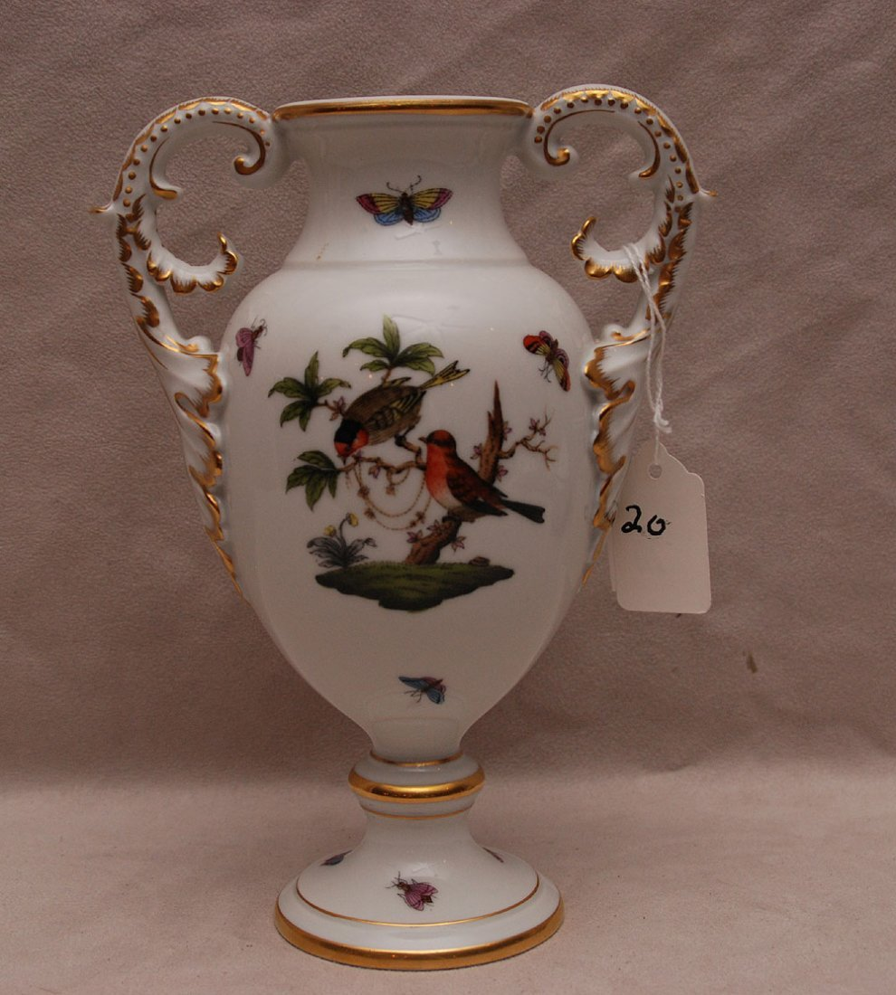 "Herend double handled vase, ""Rothschild Bird"", 8 1/4""h"