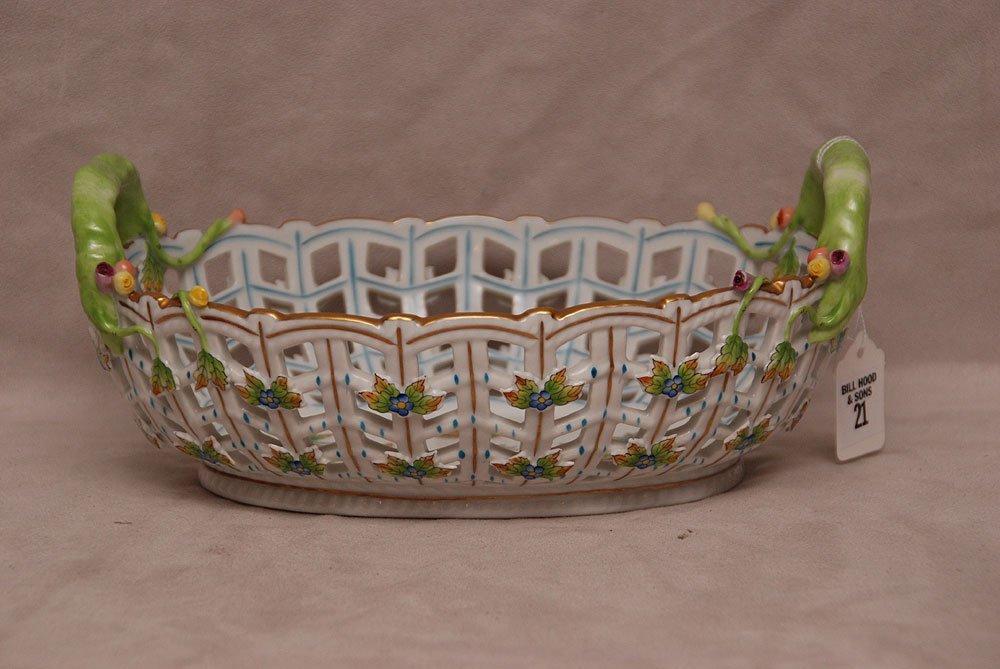 "Herend reticulated basket, ""Queen Victoria"", 4 1/8""h x"