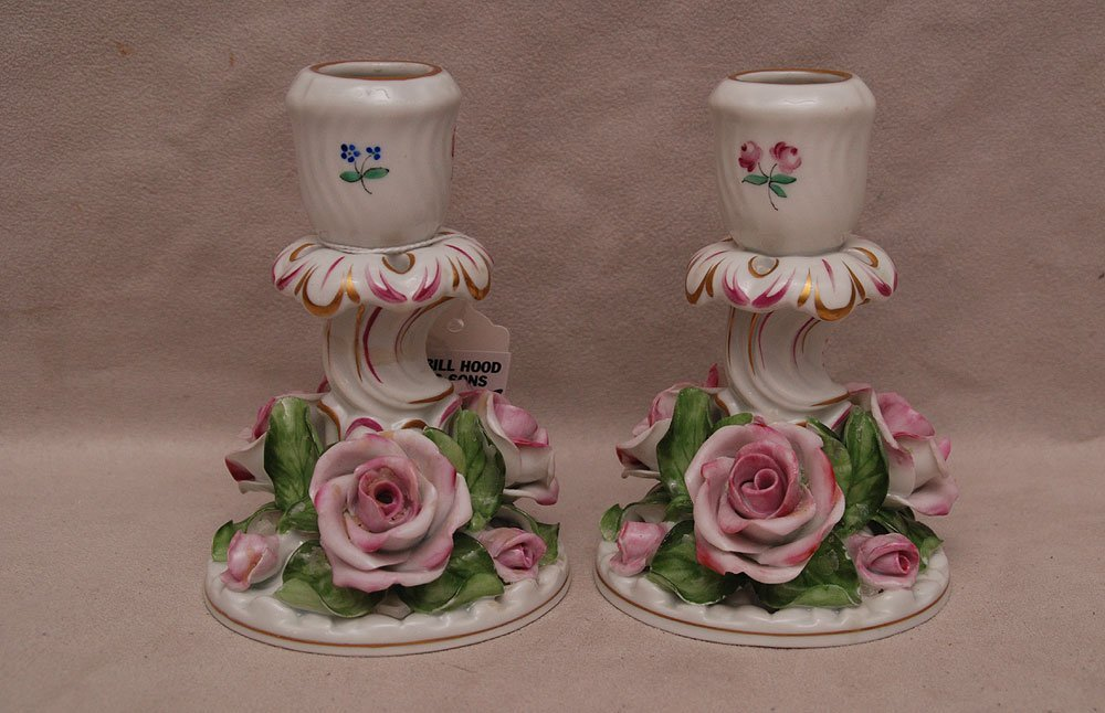 """Pair Herend floral candleholders with roses at base, 5"""""""