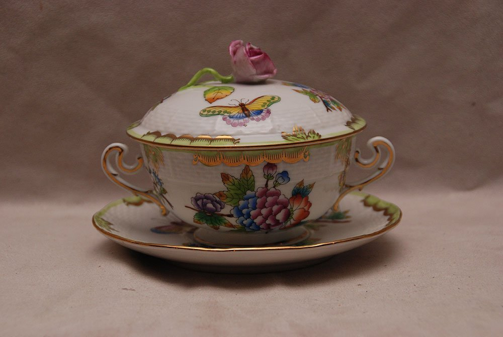 Herend covered condiment jar with unattached under plat