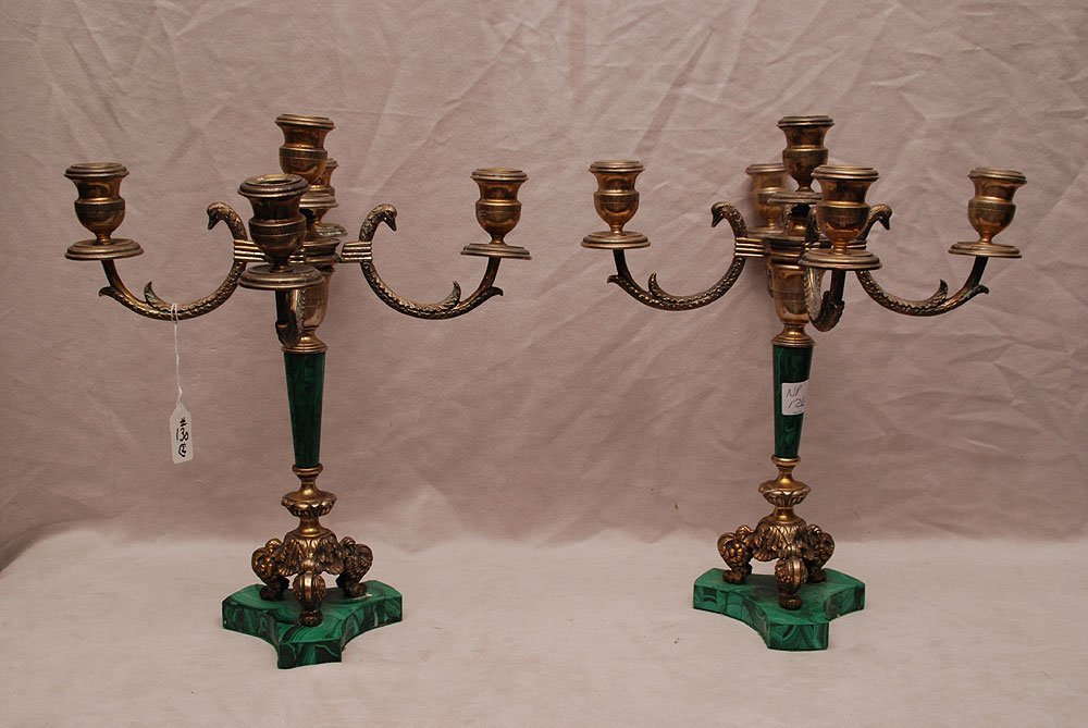 Pair of Continental silver (800 mark) and malachite 5 l