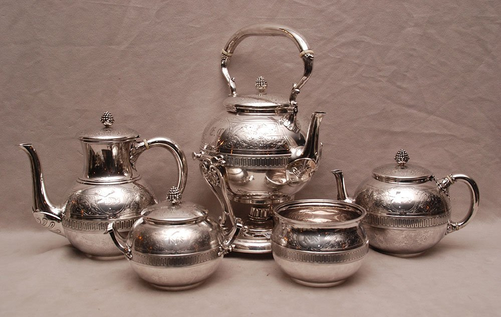 6pc. Tiffany tea service, incl; kettle with stand, coff