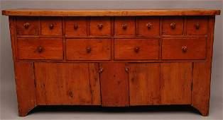 American 19th c. pine multi drawer, over 2 doors, hardw