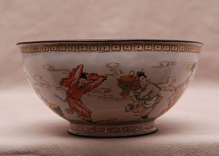 "Enameled Chinese bowl with figures around, 3""h x 6""w"