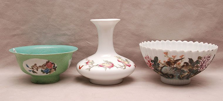 3 porcelain Chinese pieces, incl; white bowl with