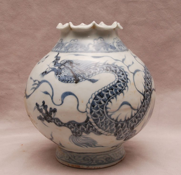 Chinese dragon motif open vessel with folded rim, 7