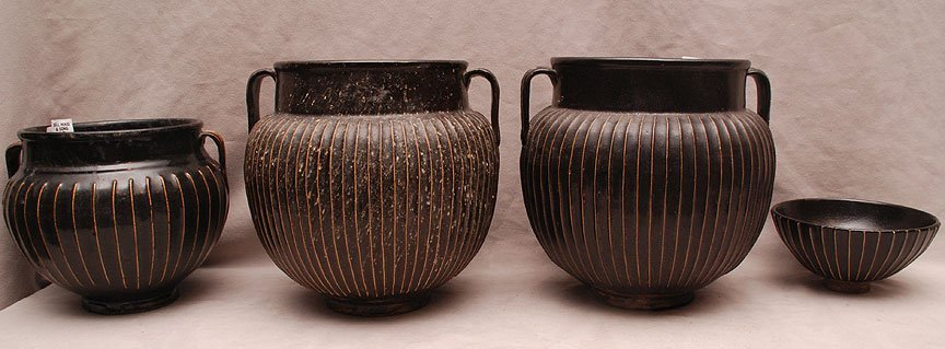 3 ribbed Chinese brown open vessels with handles and 1