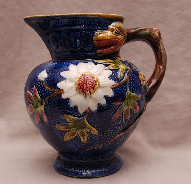 Majolica pitcher, Stoke on Trent, floral with dragon