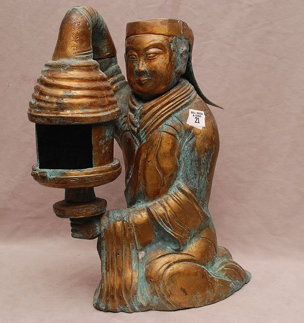 Brass Chinese figural lamp, Tang Dynasty style, signed,