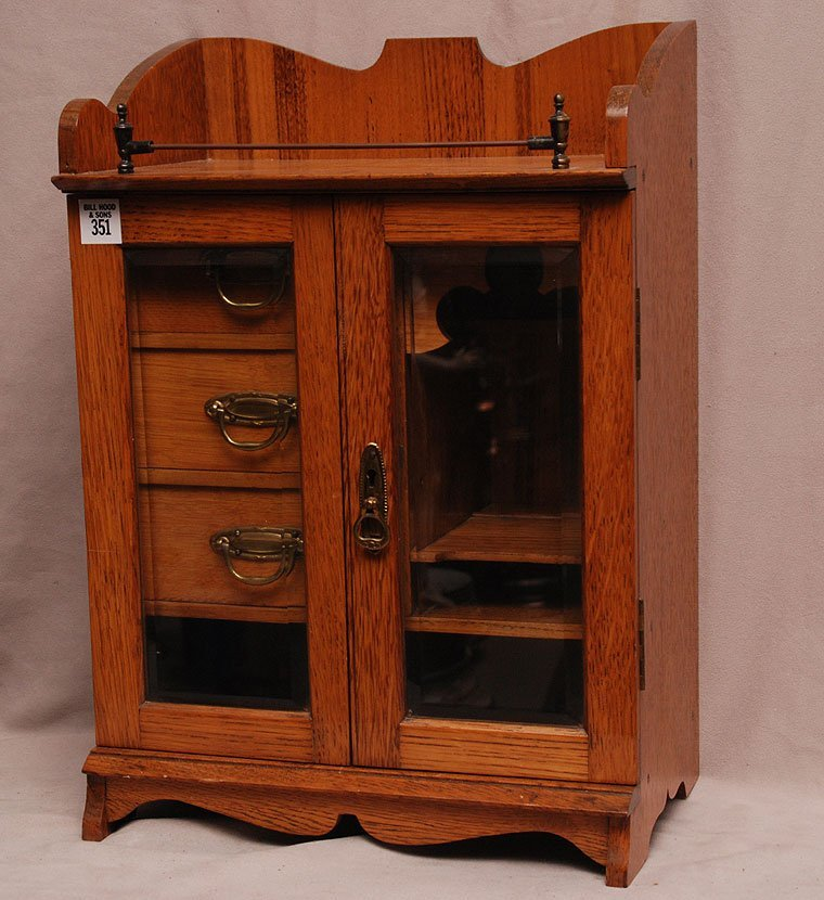 Miniature French wood cabinet, 2 doors open to reveal 3
