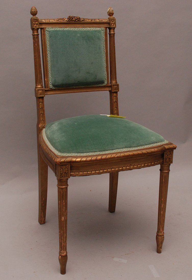 Diminutive French side chair, floral carving with acorn