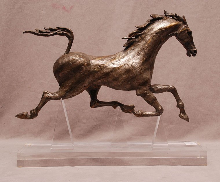 "Silvered metal racing horse sculpture, 10""h x 16""w"
