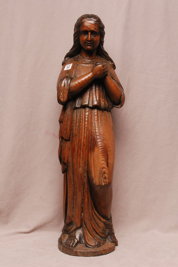 "Carved oak virgin, 19thc. Quebec, Canada, 29 3/4""h"
