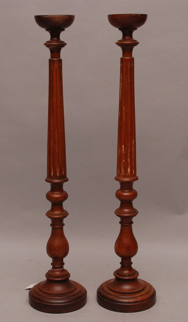 "Pine candlesticks, 19th c. Quebec, Canada, 35 1/2""h"