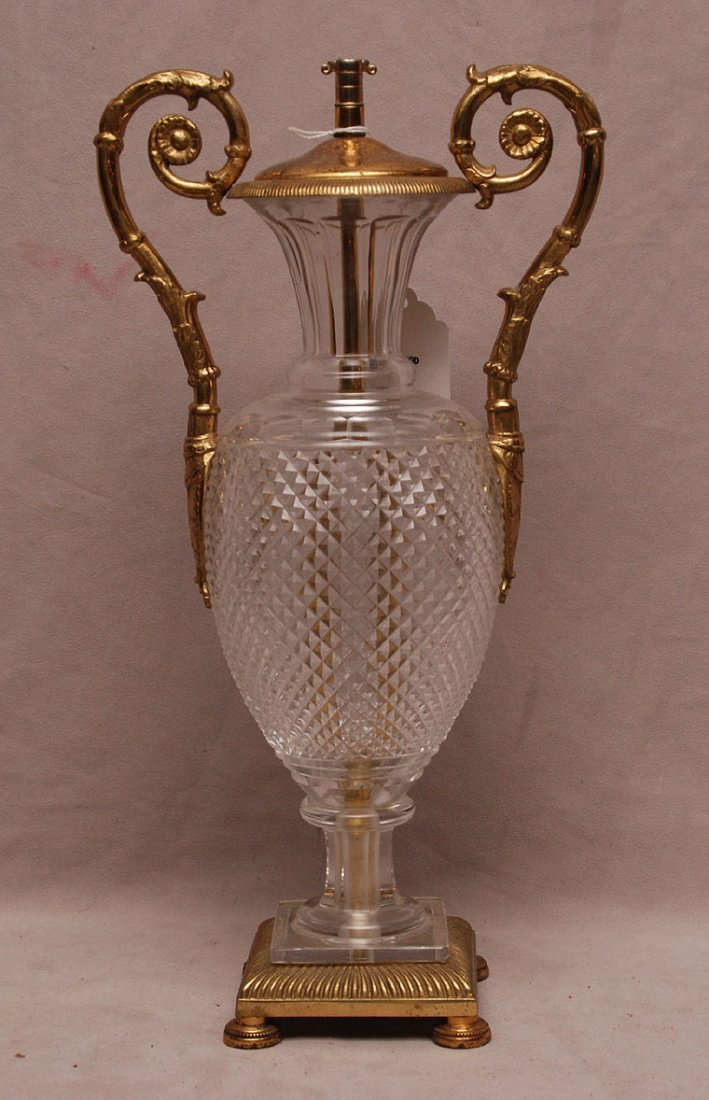 "Brass & glass footed centerpiece, 17""h x 8 1/2""w"