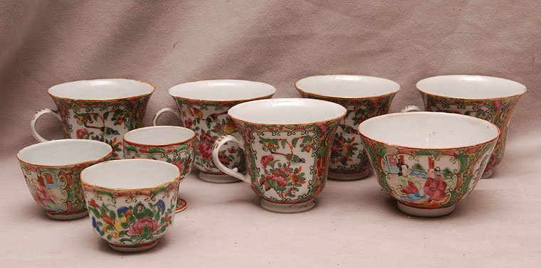 9 assorted Rose Medallion teacups, four have no handles