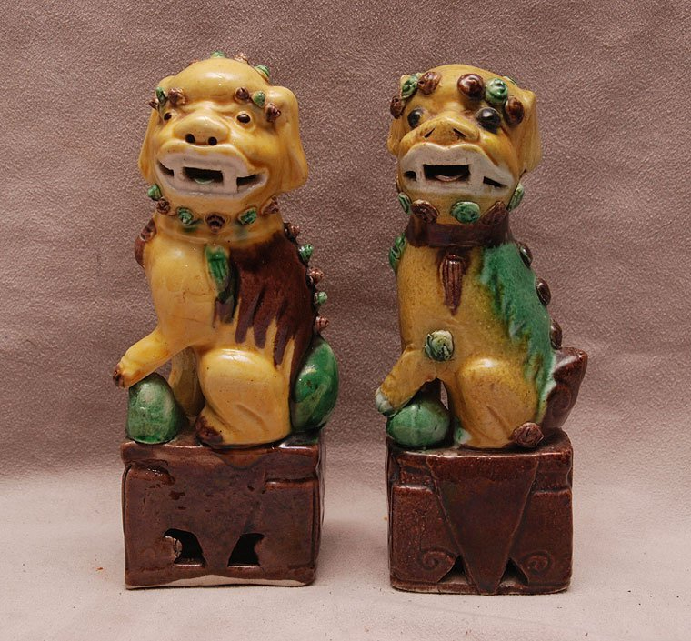 "Pair of small foo dogs (6""h) AND 2 cups & saucers"