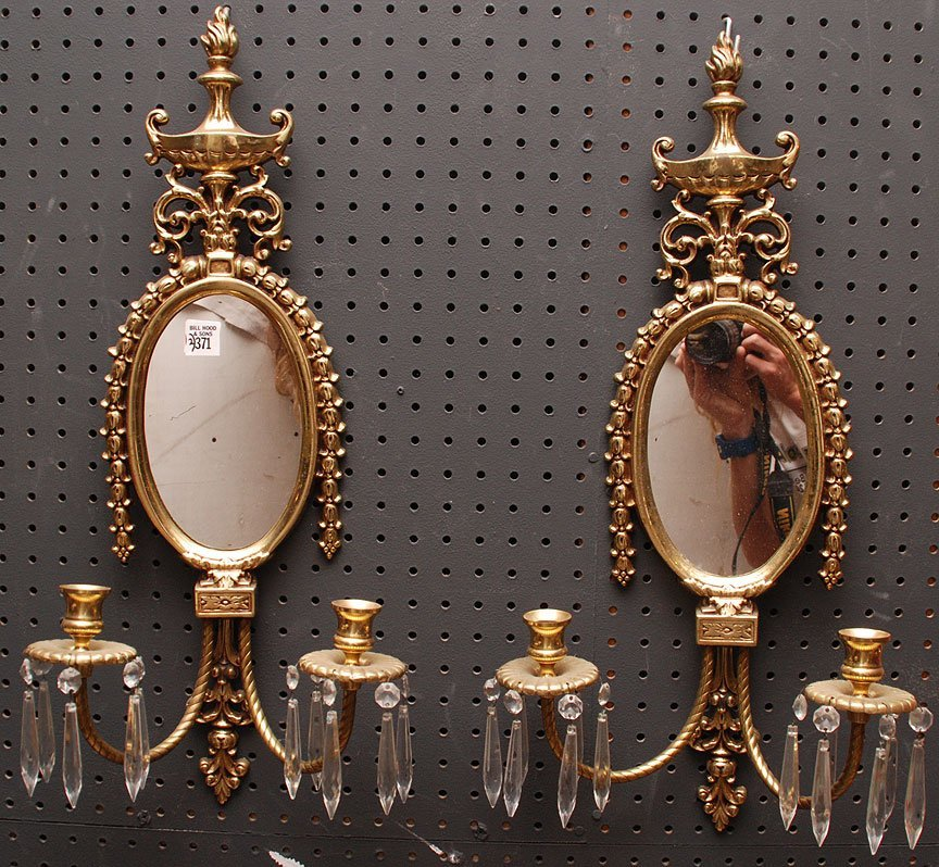 "Pair of mirrored brass 2 light wall sconces, 23""h x 10"""