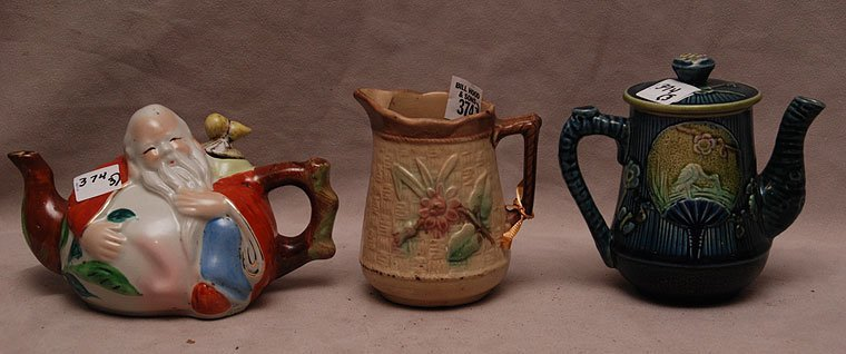 "3 porcelain pieces, (1) pitcher (4 3/4""h), (1) Chinese"