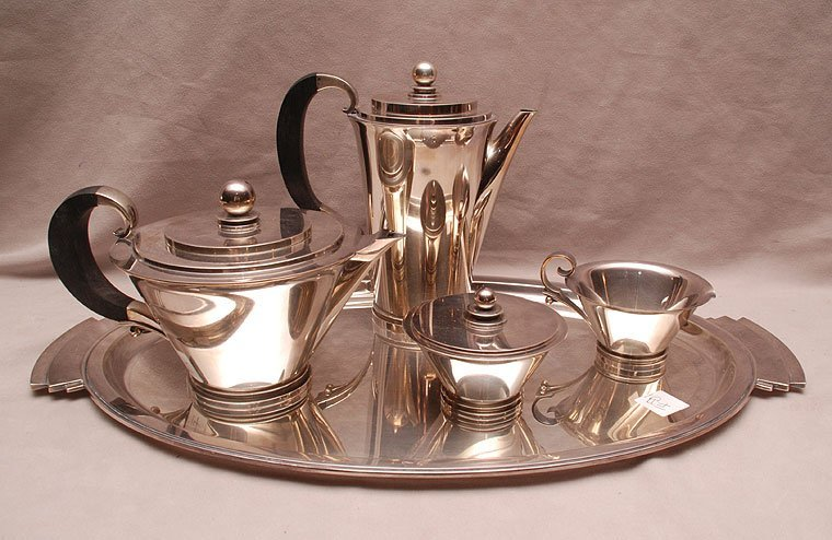 Georg Jensen tea service, 5pc, Art Deco, teapot, coffee