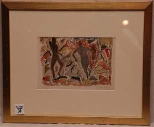 Aaron Douglas (1899 - 1979) watercolor, 2 figures in