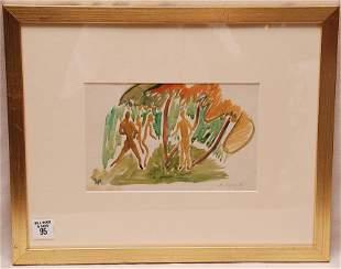 Aaron Douglas (1899 - 1979) watercolor, 4 figures