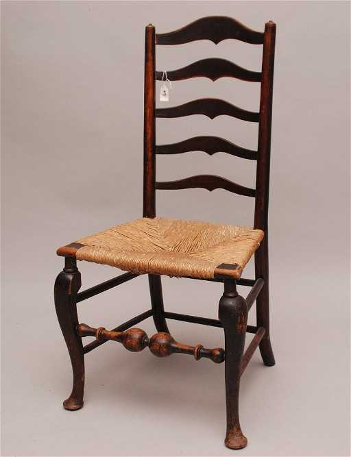 - Late 1700's, Early 1800's Cherry Wood Rush Seat Chair,