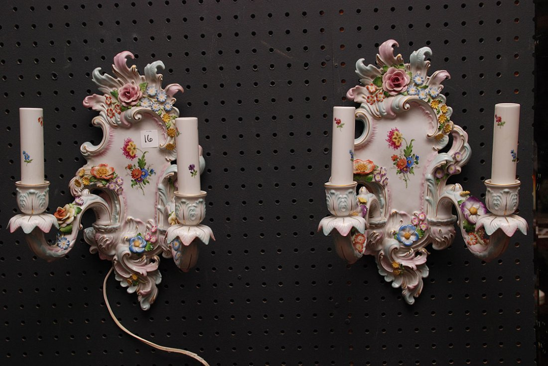 Pair German porcelain wall sconces, double branch (some