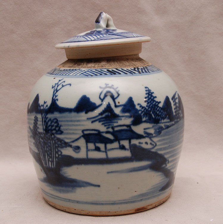 "19th Century Chinese Canton covered jar, 7 1/4""h x 7""w"