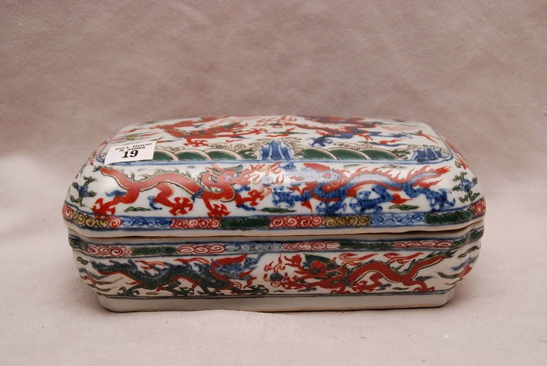 Chinese porcelain covered box, fighting dragon motif,
