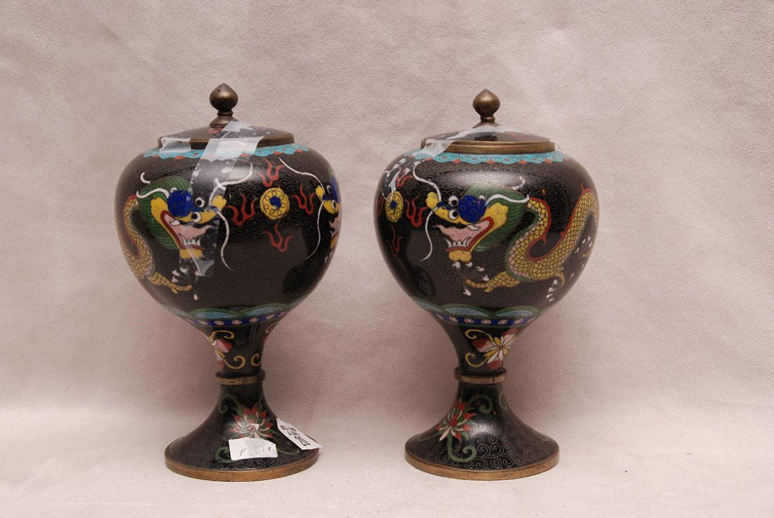 "Pair cloisonné covered urns, dragon motif, 8 1/4""h x 4"