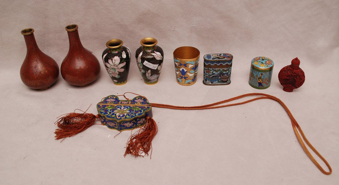 "9 Cloisonné pieces, incl; pair of vases (4""h),"